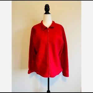 Eileen Fisher Boiled Wool Zip Red Blazer Jacker